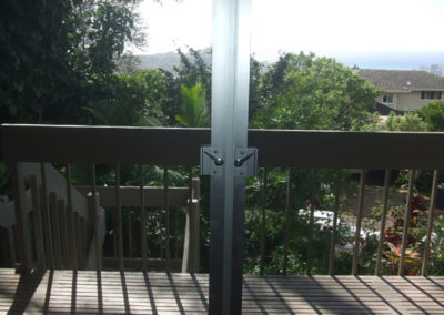 Double french style sliding lanai doors.
